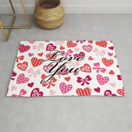 """Love You"" Heart Pattern Rug"