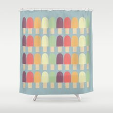 Popsicles - on blue Shower Curtain