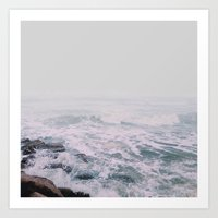 Foggy waves Art Print