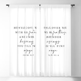 Psalm 91: 4 He will cover you with his feathers Blackout Curtain