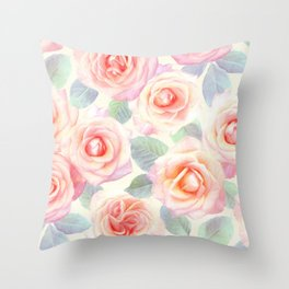 Faded Vintage Painted Roses Throw Pillow
