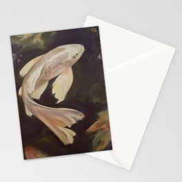 Golden Butterfly Koi Painting Stationery Cards