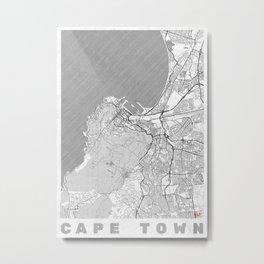 Cape Town Map Line Metal Print