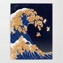 Shiba Inu The Great Wave in Night by bignosework