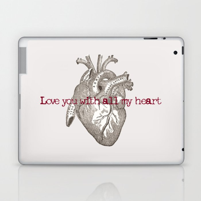 Love you with all my heart vintage illustration Laptop & iPad Skin