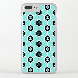 Blue Floral Honeycomb Clear iPhone Case