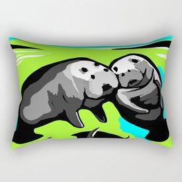 MANATEE LOVE in Blue Green Underwater Rectangular Pillow