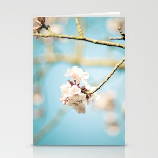 Cherry Blossom, Pink Flowers and Blue Sky. Stationery Cards