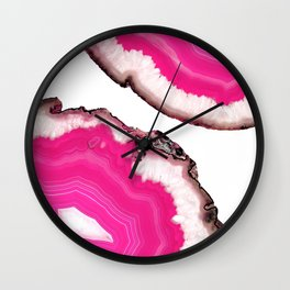 Double Pink Agate Wall Clock