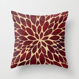 Petal Burst - Maroon - 2 Throw Pillow