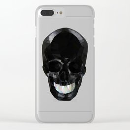 Skull Black Low Poly Clear iPhone Case