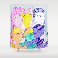 my little pony Shower Curtains featuring My Little Pony by Maranda Rae