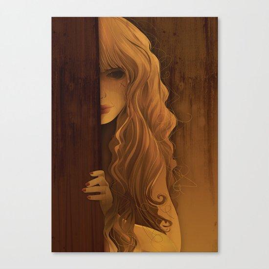 Girl Behind The Door Canvas Print
