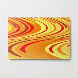 Yellow red wave Design Metal Print