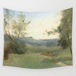 """Jean-Baptiste-Camille Corot """"Ramasseuse de bois (Wood picker)"""" Wall Tapestry"""