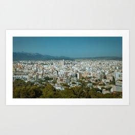 Birdseye view of urban area Art Print