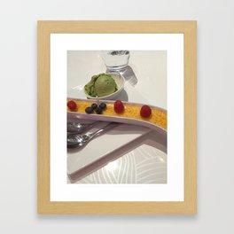 Creme brûlée and green tea ice creme Framed Art Print