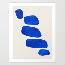 Minimalist Modern Mid Century Colorful Abstract Shapes Phthalo Blue Native Pebbles Stacked Art Print