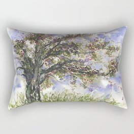 Springtime Fairy Tree watercolor by CheyAnne Sexton Rectangular Pillow