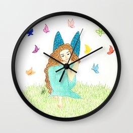 Fairy with butterfies Wall Clock