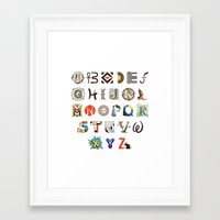 modern vampires of art history Framed Art Prints featuring A-Z Art History by Made With Awesome