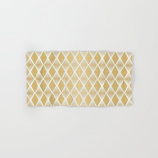 White and Gold Geometric Pattern Hand & Bath Towel