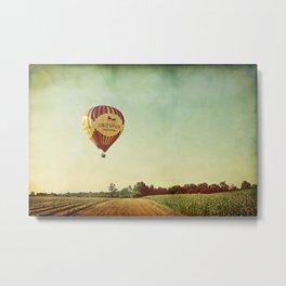 Hot Air Balloon Over Farmland Metal Print