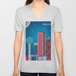 Dallas, Texas - Skyline Illustration by Loose Petals Unisex V-Neck