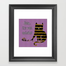 Baby its cold out there knitted Winter Cat Framed Art Print
