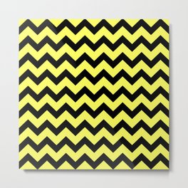 Chevron (Black & Yellow Pattern) Metal Print