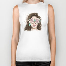 white roses in their eyes (female version) Biker Tank
