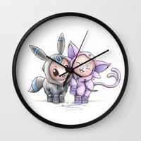 eevee Wall Clocks featuring A Psychic Adoration by Randy C