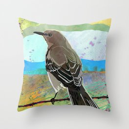 Mockingbird on a Wire Fence - In The Morning Throw Pillow