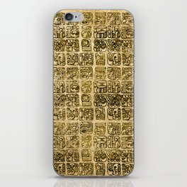 Mayan and aztec glyphs gold on vintage texture iPhone Skin