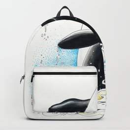 Orca Whale Doodle Wave Ink Backpack