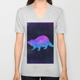 RACCOON IN SPACE // Animal Graphic Art // Watercolor Canvas Painting // Modern Minimal Cute Unisex V-Neck