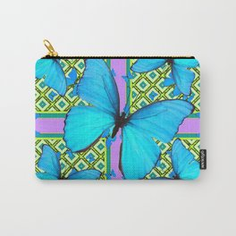 Blue Satin Butterflies Pattern On Lilac Purple Carry-All Pouch