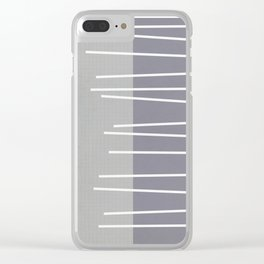 Mid century modern textured gray stripes Clear iPhone Case
