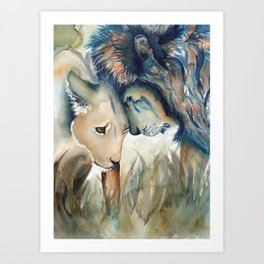 Watercolor Lion and Lioness Art Print
