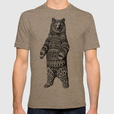 Ornate Grizzly Bear LARGE Tri-Coffee Mens Fitted Tee