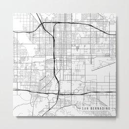 San Bernardino Map, USA - Black and White Metal Print