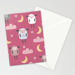 Sweet sleeping sheep pattern pink Stationery Cards