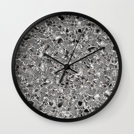 Retro Black and White Abstract Mosaic Tiles Pattern Wall Clock