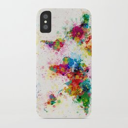 Map of the World Map Paint Splashes iPhone Case