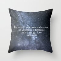 carl sagan Throw Pillows featuring Carl Sagan and the Milky Way by Astrophotos by McLeod