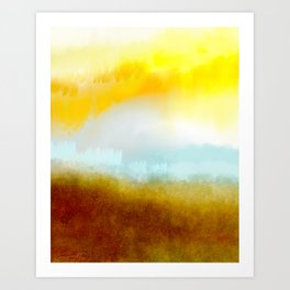Teal, Yellow and Gold Abstract Art Print