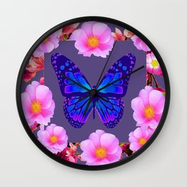 BLUE BUTTERFLY PINK ROSES GREY ART Wall Clock