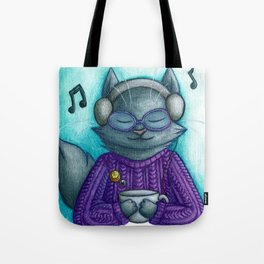 Hot drinks and cool tunes Tote Bag