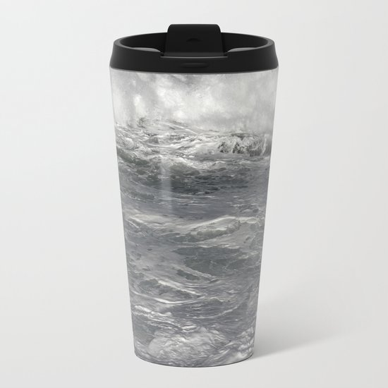 Roiling in Almost Black and White Metal Travel Mug
