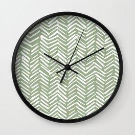 Boho Herringbone Pattern, Sage Green and White Wall Clock